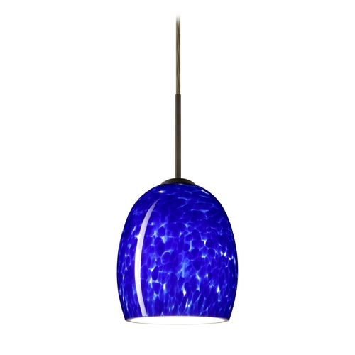 Besa Lighting Modern Pendant Light with Blue Glass in Bronze Finish 1JT-169786-BR