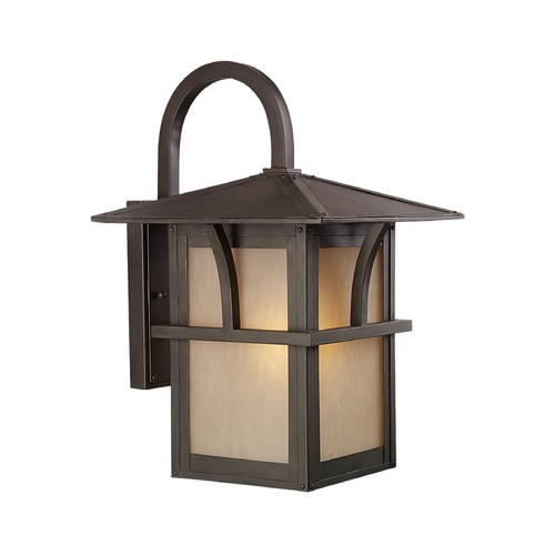Sea Gull Lighting Outdoor Wall Light with Amber Glass in Statuary Bronze Finish 88882BLE-51
