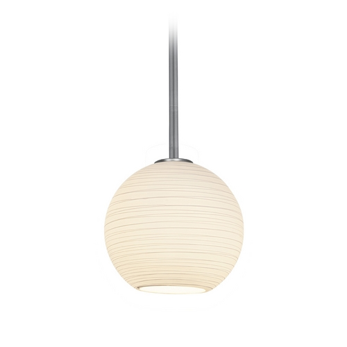Access Lighting Modern Mini-Pendant Light with White Glass 28085-1R-BS/WHTLN