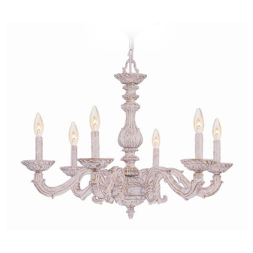Crystorama Lighting Crystal Chandelier in Antique White Finish 5126-AW