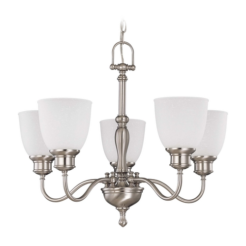 Nuvo Lighting Chandelier with White Glass in Brushed Nickel Finish 60/2775