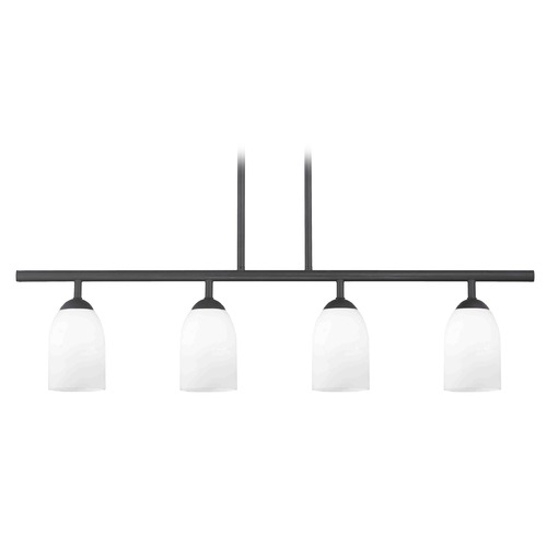 Design Classics Lighting Modern Island Light with White Glass in Matte Black Finish 718-07 GL1028D