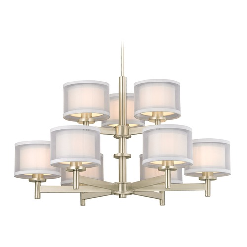 Dolan Designs Lighting Dolan Designs Double Organza Satin Nickel Chandelier 1272-09
