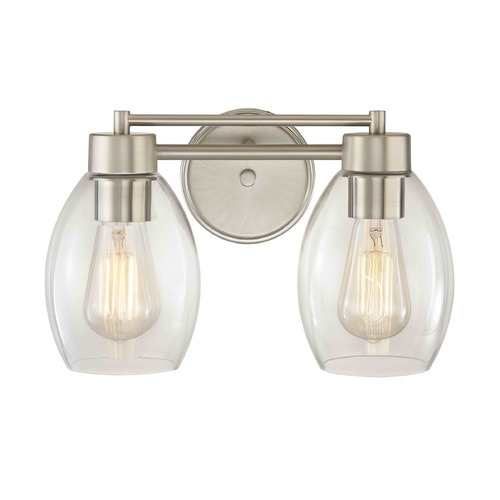 Design Classics Lighting Satin Nickel Bathroom Light 702-09 GL1034-CLR