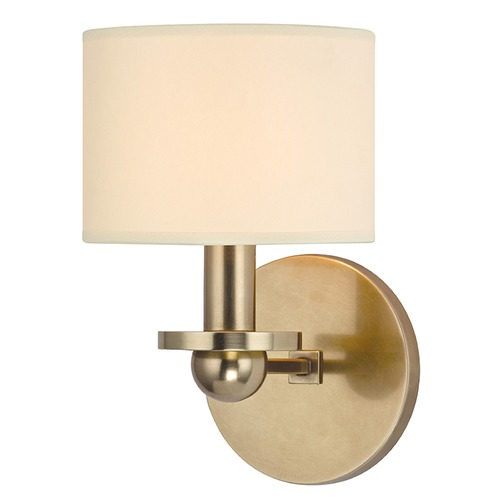 Hudson Valley Lighting Kirkwood 1 Light Sconce Drum Shade - Aged Brass 1511-AGB