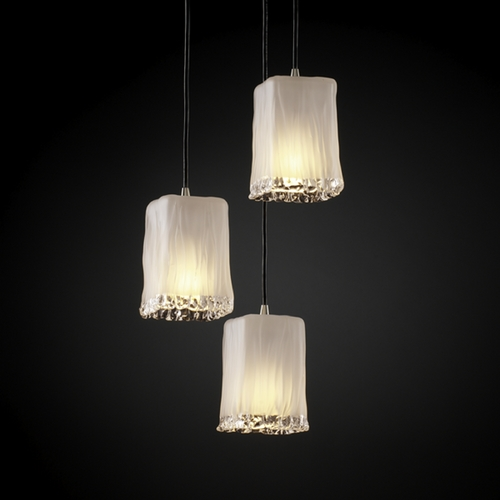 Justice Design Group Justice Design Group Veneto Luce Collection Multi-Light Pendant GLA-8864-26-WTFR-NCKL