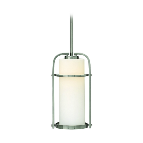 Hinkley Lighting Mini-Pendant Light with White Glass in Brushed Nickel Finish 3017BN