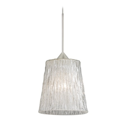 Besa Lighting Besa Lighting Nico Satin Nickel Mini-Pendant Light with Fluted Shade 1XT-5125GL-SN