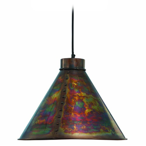 Kenroy Home Lighting Kenroy Home Lighting Cuprum Flamed Copper Pendant Light with Coolie Shade 93120FCOP