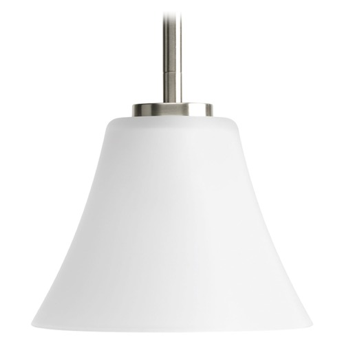 Progress Lighting Progress Lighting Bravo Brushed Nickel Mini-Pendant Light with Bell Shade P5300-09WB