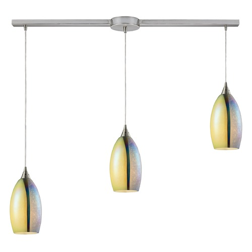 Elk Lighting Elk Lighting Horizon Satin Nickel Multi-Light Pendant with Oval Shade 31495/3L