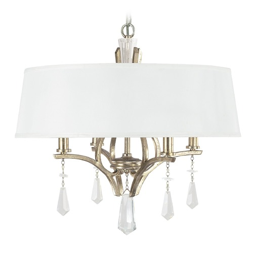 Capital Lighting Capital Lighting Margo Winter Gold Pendant Light with Drum Shade 4224WG-551-CR