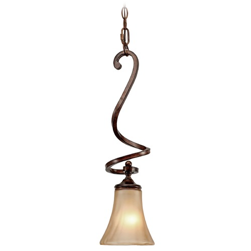 Golden Lighting Golden Lighting Loretto Russet Bronze Mini-Pendant Light with Bell Shade 4002-M1L RSB