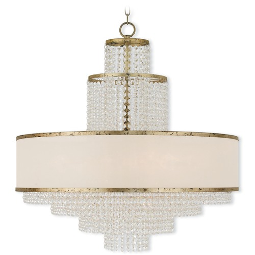 Livex Lighting Livex Lighting Prescott Hand Applied Winter Gold Pendant Light with Drum Shade 50788-28
