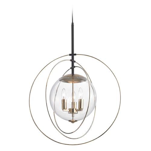 Elk Lighting Elk Lighting Zonas Polished Gold, Oil Rubbed Bronze Pendant Light with Globe Shade 14386/3
