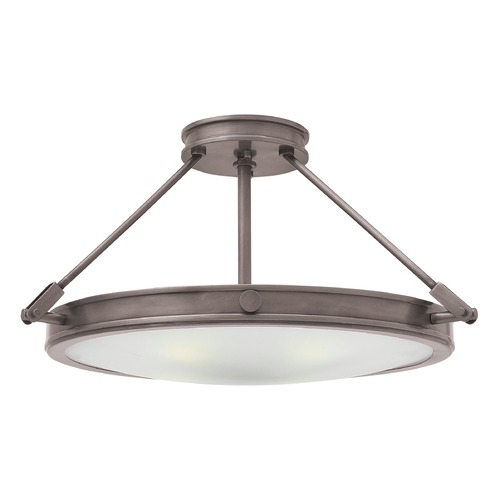 Hinkley Lighting Industrial Antique Nickel LED Semi-Flushmount Light by Hinkley Lighting 3382AN-LED