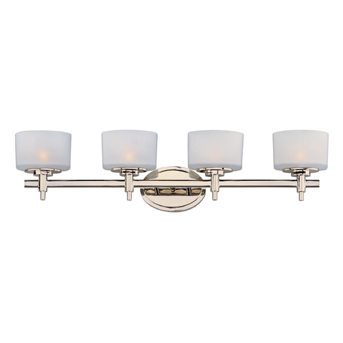 Maxim Lighting Bathroom Light with White Glass in Polished Nickel Finish 9024SWPN