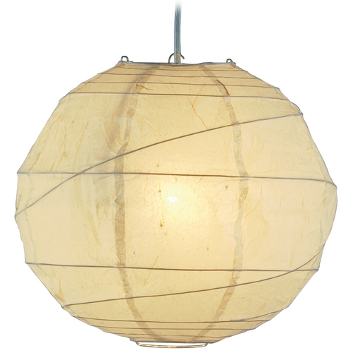 Adesso Home Lighting Plug-In Pendant Light with Beige / Cream Paper Shade and Switch 4162-12