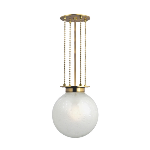 Hudson Valley Lighting Pendant Light with White Glass in Aged Brass Finish 4217-AGB-FB