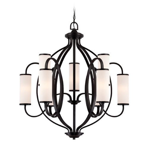Designers Fountain Lighting Modern Chandelier with White Glass in Artisan Finish 84489-ART