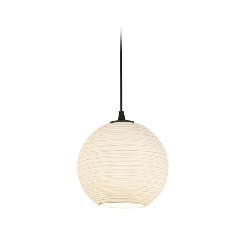 Access Lighting Access Lighting Sydney S Japanese Lantern Oil Rubbed Bronze Mini-Pendant with Bowl / Dome Shade 28085-1C-ORB/WHTLN