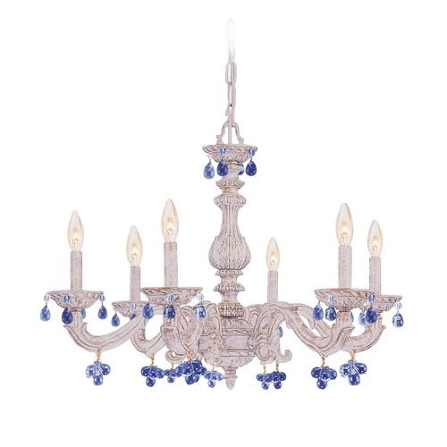 Crystorama Lighting Crystal Chandelier in Antique White Finish 5226-AW-BLUE