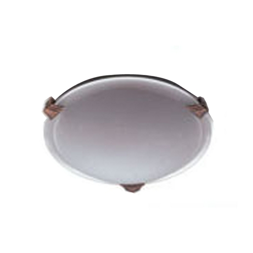 PLC Lighting Modern Flushmount Light with White Glass in Natural Iron Finish 5519 IR