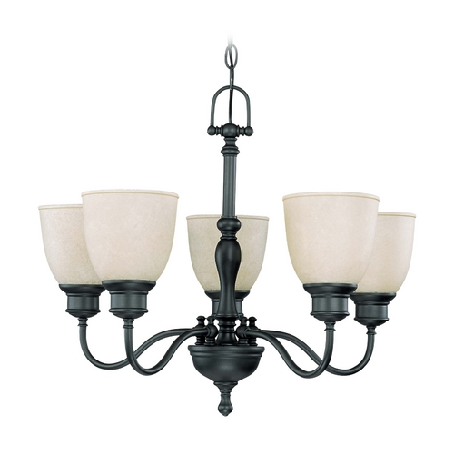 Nuvo Lighting Chandelier with Beige / Cream Glass in Aged Bronze Finish 60/2776