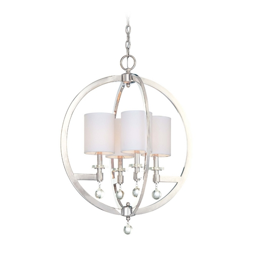 Metropolitan Lighting Modern Chandelier with White Shades in Polished Nickel Finish N6840-613