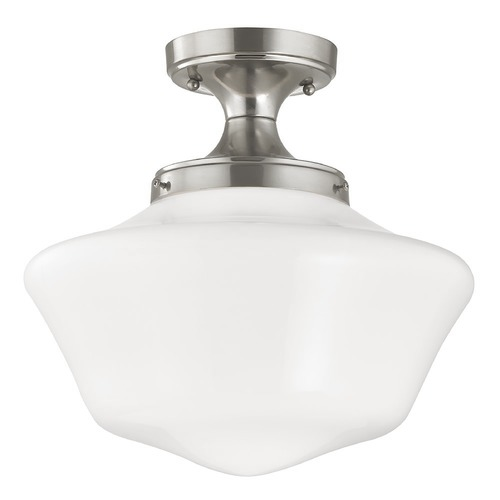 Design Classics Lighting 14-Inch Wide Schoolhouse Ceiling Light in Satin Nickel Finish FES-09/ GA14