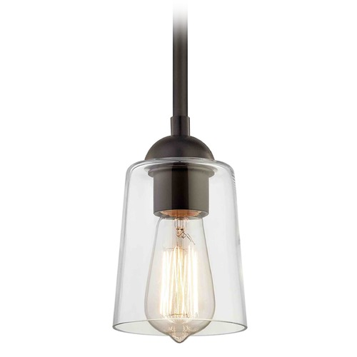 Design Classics Lighting Bronze Mini-Pendant Light with Cone Shade 581-220 GL1027-CLR