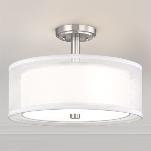 Dolan Designs Lighting Double Organza Drum Ceiling Light Satin Nickel 16 Inches Wide 3 Lt 1275-09