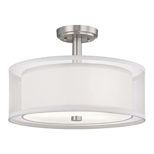 Dolan Designs Lighting Dolan Designs Double Organza Satin Nickel Semi-Flushmount Light 1275-09