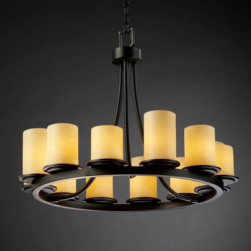 Justice Design Group Justice Design Group Candlearia Collection Chandelier CNDL-8768-10-AMBR-MBLK