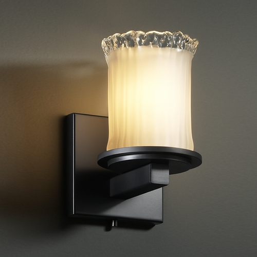Justice Design Group Justice Design Group Veneto Luce Collection Matte Black Sconce GLA-8771-16-WTFR-MBLK