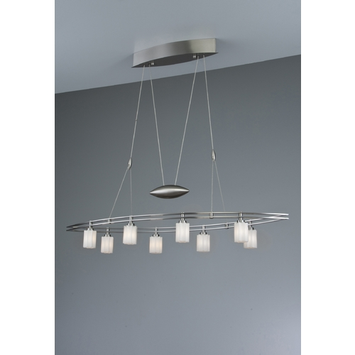Holtkoetter Lighting Holtkoetter Modern Low Voltage Pendant Light with White Glass in Satin Nickel Finish 5508 SN G5014