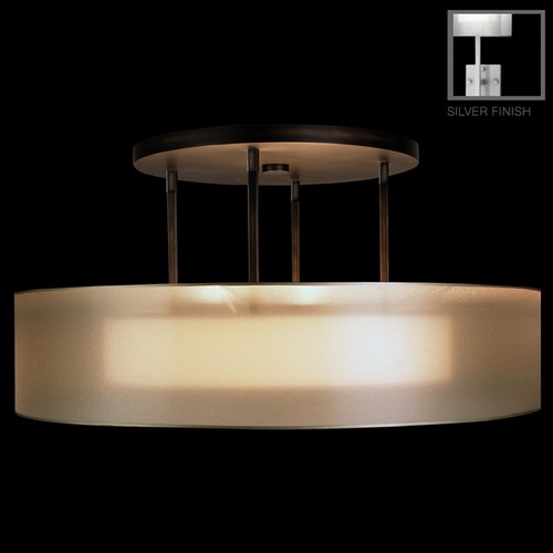 Fine Art Lamps FineArt Lamps Quadralli Silver Leafed Semi-Flush Light with Drum Shade 435940-2ST