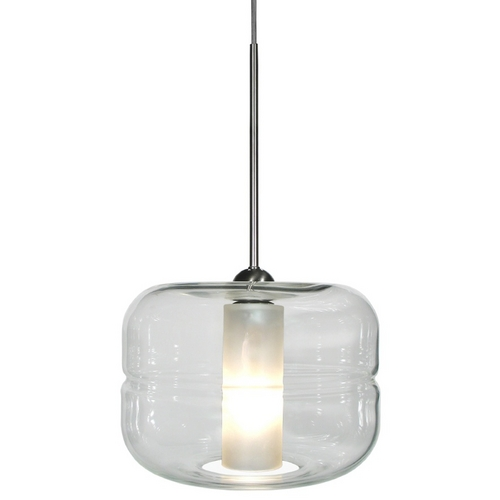 Oggetti Lighting Oggetti Lighting Helsinki Satin Nickel Pendant Light with Drum Shade 29-5901A