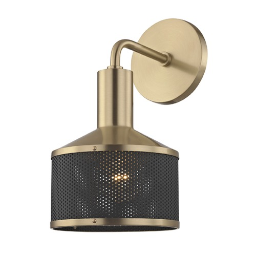 Hudson Valley Lighting Industrial Sconce Brass Mitzi Yoko by Hudson Valley H119101-AGB/BK