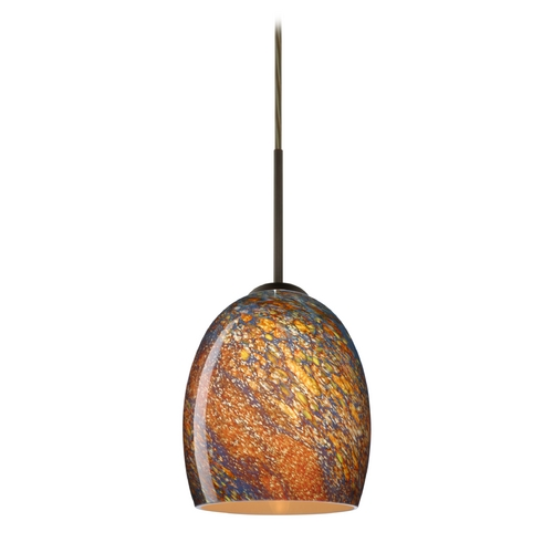 Besa Lighting Modern Pendant Light with Multi-Color Glass in Bronze Finish 1JT-1697CE-BR