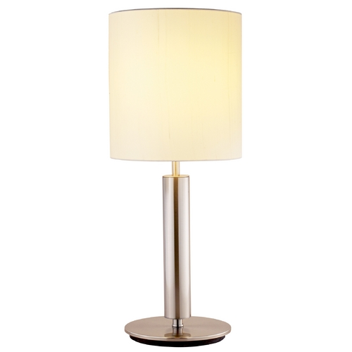 Adesso Home Lighting Modern Table Lamp with Beige / Cream Shade in Satin Steel Finish 4173-22