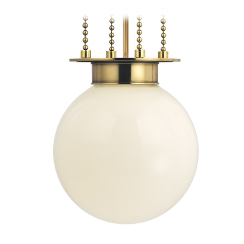 Hudson Valley Lighting Pendant Light with White Glass in Aged Brass Finish 4217-AGB-OP