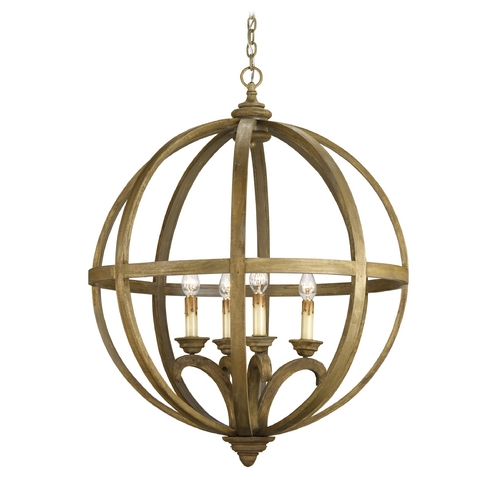 Currey and Company Lighting Pendant Light in Chestnut Wood Finish 9015