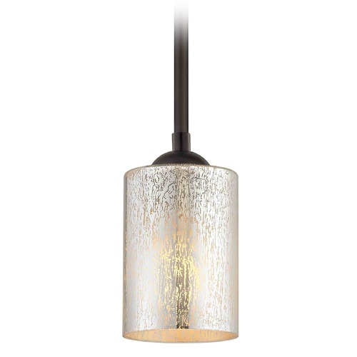 Design Classics Lighting Bronze Mini-Pendant Light with Cylindrical Shade 581-220 GL1039C