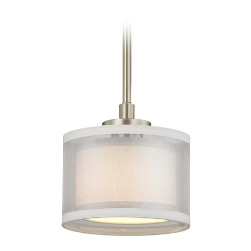 Dolan Designs Lighting Dolan Designs Double Organza Satin Nickel Mini-Pendant Light with Drum Shade 1271-09