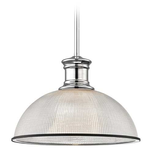 Design Classics Lighting Industrial Pendant Light Prismatic Glass Black / Chrome 13.13-Inch Wide 1761-26 G1780-FC R1780-07