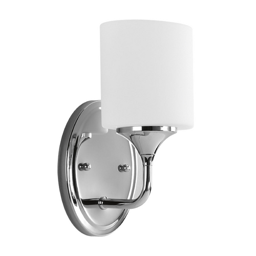 Progress Lighting Progress Sconce Wall Light with White Glass in Chrome Finish P2801-15