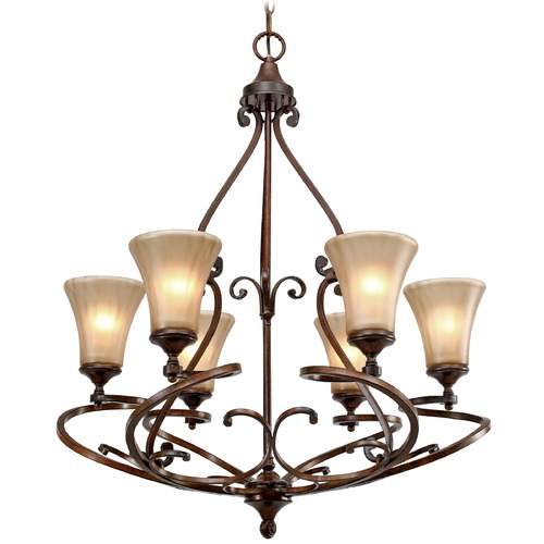 Golden Lighting Golden Lighting Loretto Russet Bronze Chandelier 4002-6 RSB