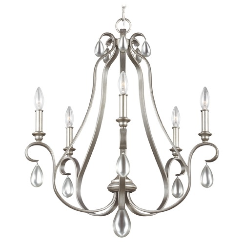 Feiss Lighting Feiss DeWitt 5-Light Chandelier in Sunrise Silver F3070/5SRS