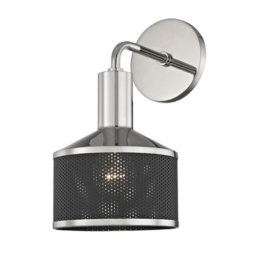 Mitzi by Hudson Valley Industrial Sconce Polished Nickel Mitzi Yoko by Hudson Valley H119101-PN/BK